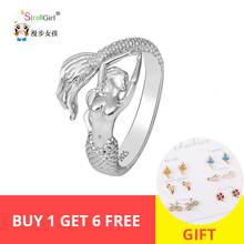 Strollgirl authentic 925 sterling silver mermaid rings opening adjustable size ring female fashion jewelry wedding gift 2019 New стоимость