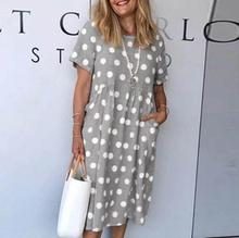 Casual Women Plus Size Pockets Dress Summer Short Sleeve Loose Party Dress Elegant Retro Dot Daisy Print Sundress Vestidos