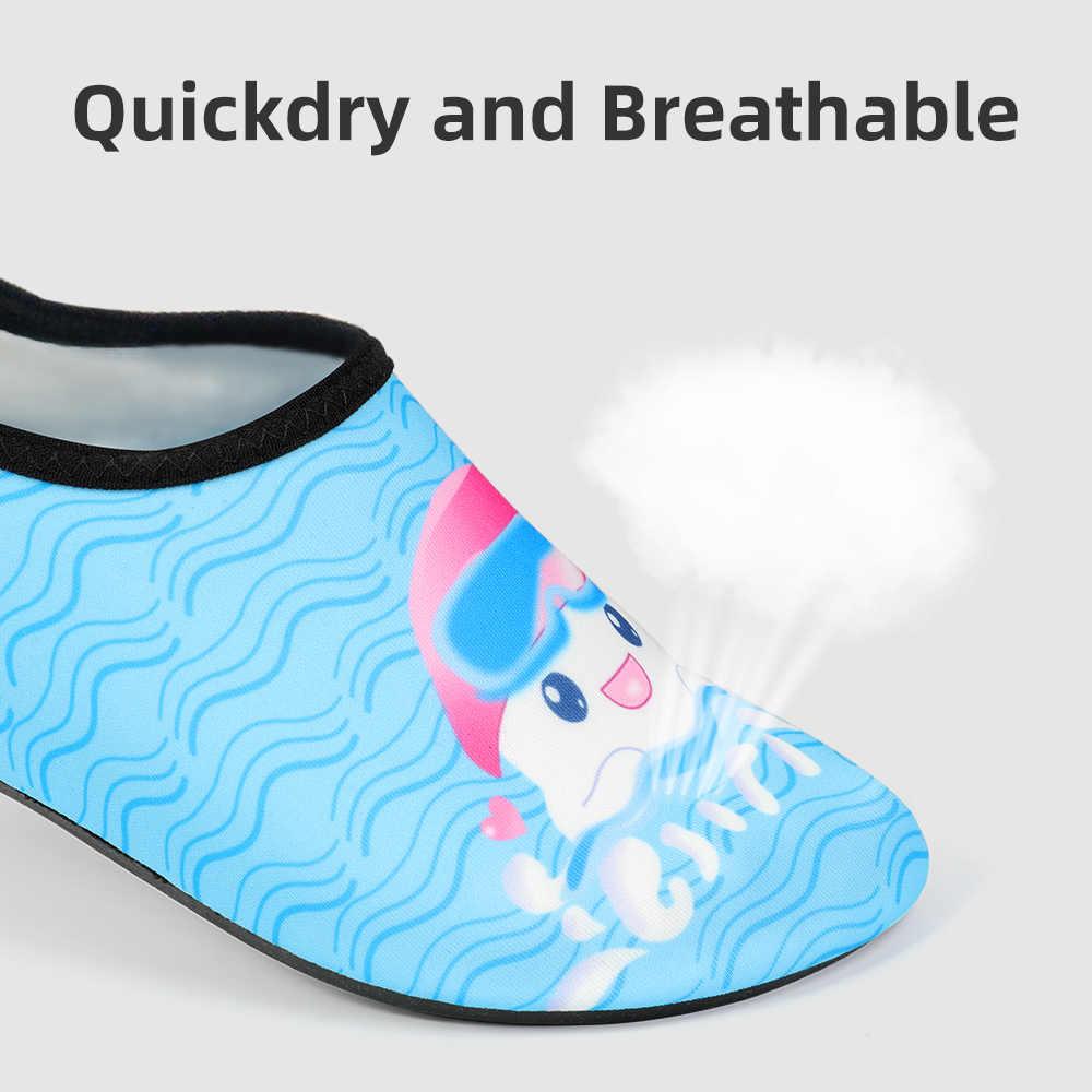 Dzieci szybkie fajka do nurkowania pływać wody Aqua buty na co dzień obuwie boso lekkie skarpety na plaży basen dla dzieci Cartoon kapcie