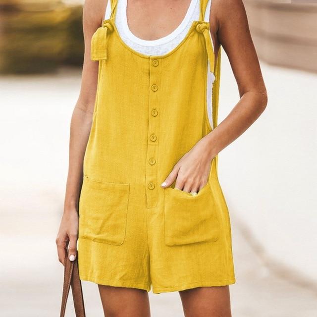 Adisputent 2020 Summer Jumpsuit Women Romper Cotton And Linen Sleeveless Suspender Buttons Pocket Shorts Casual Loose Suspenders 5