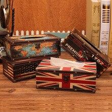 Американский стиль дома коробка ткани Ретро кожа раздатчик держатель настольный кофе Декорации для магазина бумажное полотенце коробка для хранения носовых платков