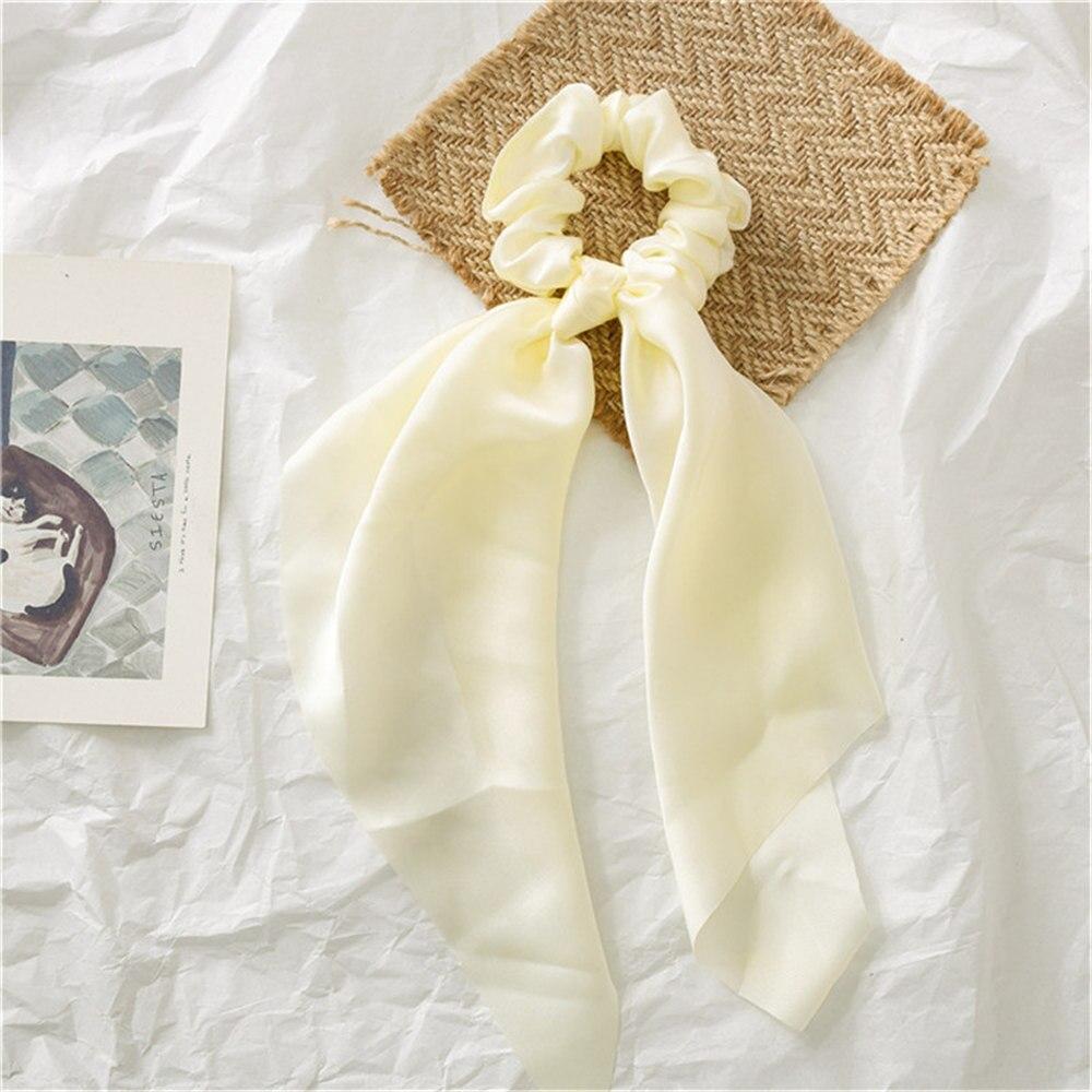 Летние Стильные многоцветные женские головные уборы тюрбан DIY лук стримеры резинки для волос конский хвост галстуки твердые головной убор - Цвет: Beige