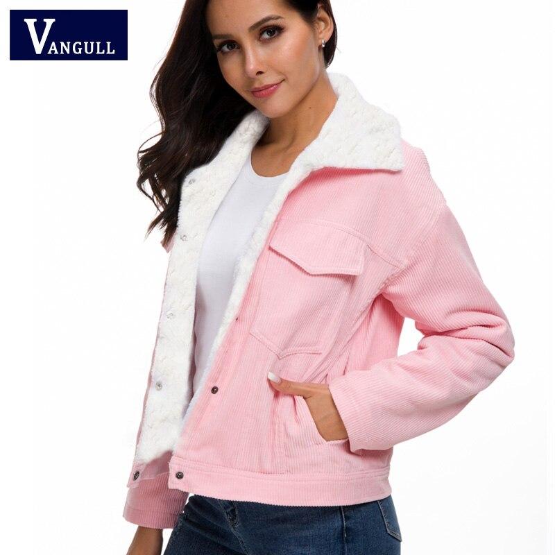 H154f2efa25ab430d94efb16a6a4ecf2fE VANGULL Women Winter Jacket Thick Fur Lined Coats Parkas Fashion Faux Fur Lining Corduroy Bomber Jackets Cute Outwear 2019 New