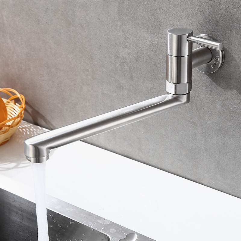 Kitchen Faucet Stainless Steel 360 Degree Rotation Sink Tap Lengthened Swivel Wall Mounted Single Cold Water Faucet Mop Pool Tap