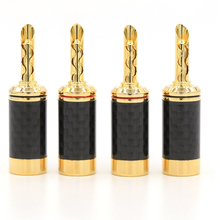 Free shipping 4pcsx 24K Gold plated Carbon Fiber BFA Z Banana Speaker Plug Copper Connector HiFi цена 2017