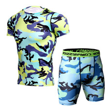Camouflage Bermuda Compression Running Set Men Short Sleeve T Shirt + Shorts Quick Dry Bodybuilding Tracksuit Gym MMA Tights Tee