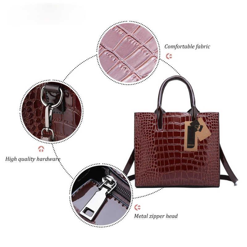 Роскошные 3 комплекта высокого качества из кожи аллигатора женская обувь из PU искусственной кожи, сумка через плечо, сумки в руку, люксовых брендов сумка-тоут, женская сумка на плечо, сумка-клатч