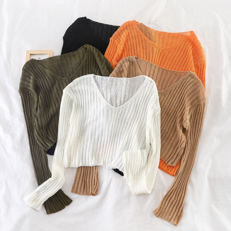 GLAUKE Loose Short Sweaters Women Temperament Show Thin Knitwear Top Fashion Casual Basic Sweater Pullovers V-neck