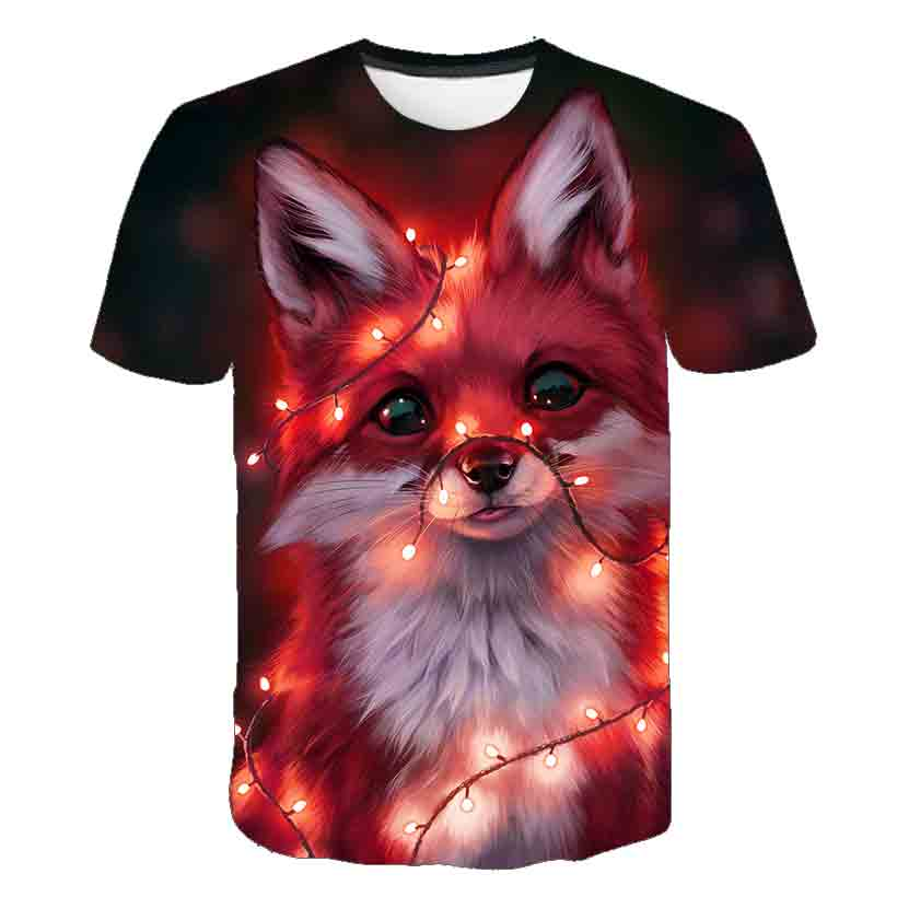 3D kids funny animal fox T-shirt harajuku T-shirt men's and women's T-shirt fashion summer top hip hop T-shirt streetwear