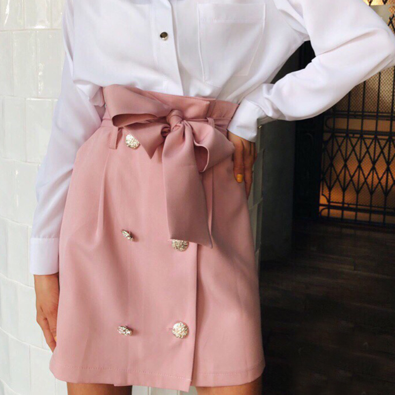 2020 High Waist Skirt Women Autumn Summer Elegant Pockets Solid Skirts Ladies Casual Button Belted Mini A-line Skirt