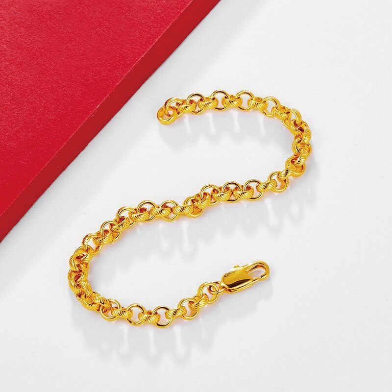 MxGxFam (23 cm x 5.8mm) עגול מעגל צמיד תכשיטי גברים נשים חדש עיצובים 24 k זהב טהור צבע אלרגיה חינם