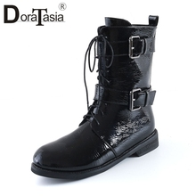 DORATASIA Brand New Big Size 34-44 Belt Buckle Cross Tied Ladies Chunky Heels Shoes Woman Casual Office Ankle Boots Women