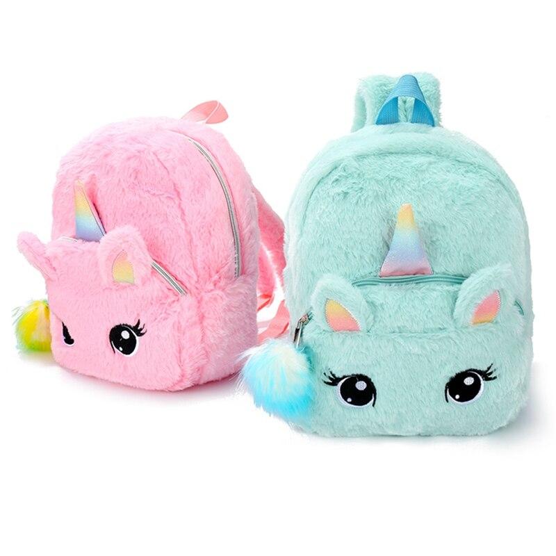 1 PC Plush Unicorn Backpack Fluffy Unicorn School Bag Baby Children School Bag Double Shoulder Bag For Kindergarten Girl Boy