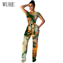 цена на WUHE Tie Dye Print Jumpsuit Short Sleeve Full-length Pants Elegant Rompers Wide Leg Two Piece Outfits Summer Party Overalls