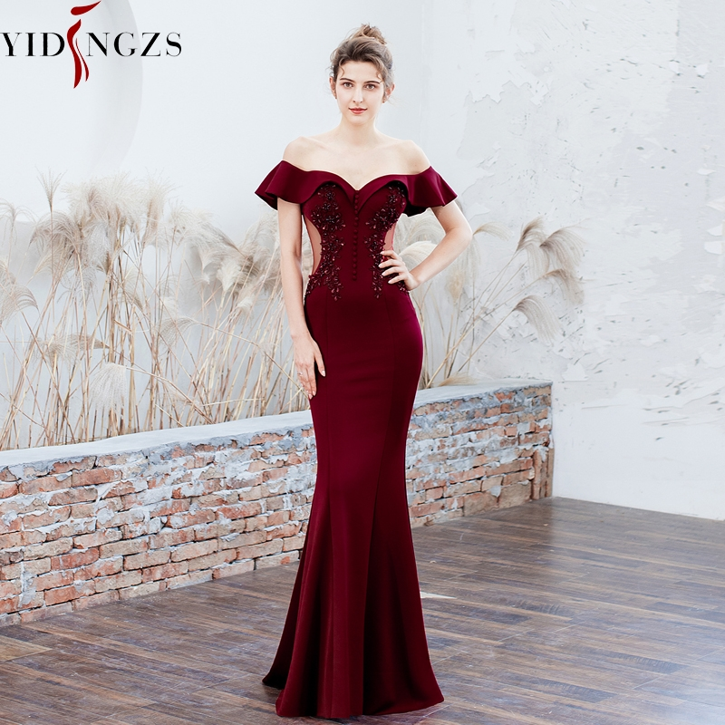 YIDINGZS See-through Appliques Beaded Long Bridesmaid Off The Shoulder Elegant Wedding Party Dress YD16288