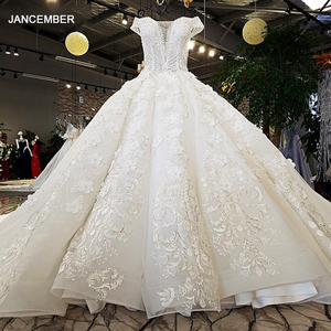 Image 1 - LS74232 weddingdress 2020 ivory and champagne off shoulder sweetheart ball gown lace up wedding dresses with long train