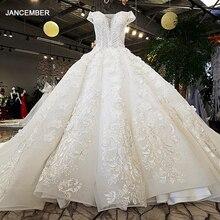 LS74232 weddingdress 2020 שנהב ושמפניה כתף מתוקה כדור שמלת תחרה עד שמלות כלה עם רכבת ארוכה