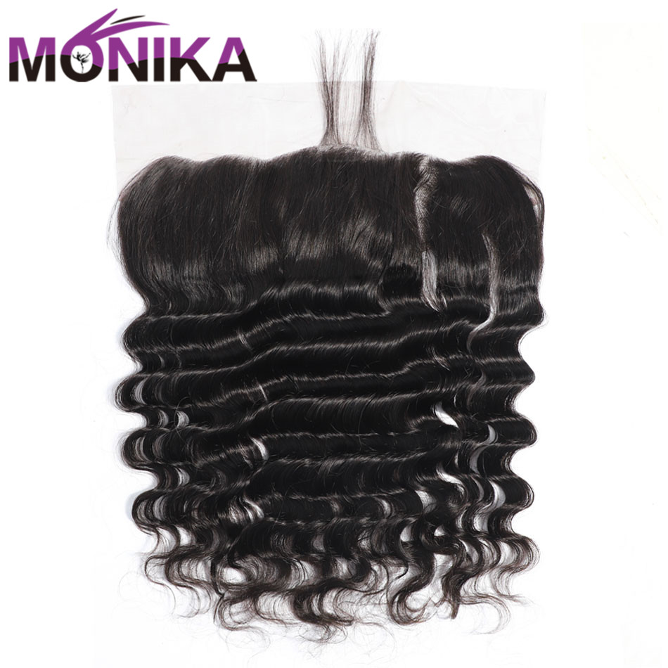 Monika Hair 13x4 Pre Plucked Lace Frontal Closure Brazilian Loose Deep Wave Frontal Lace Non-Remy Human Hair Closure Frontals