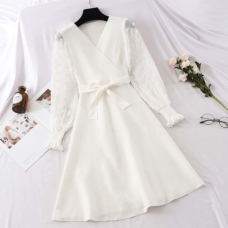 Lace Patchwork Sashes A-line Party Dress  2