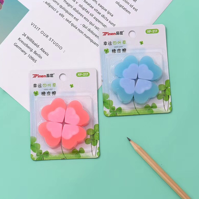 30sets/lot Office Creative Cute Correction Supplies Pencil Rubber With Small Fresh Lucky Clover Style Eraser Wholesale