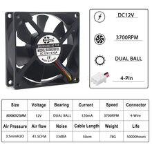1 pièces 80mm ventilateur de refroidissement pwm ventilateur cpu 8025 12V 4Pin refroidisseur 80x80x25mm double boule ventilateur électrique 80mm 25mm radiateur refroidisseur 3700 tr/min