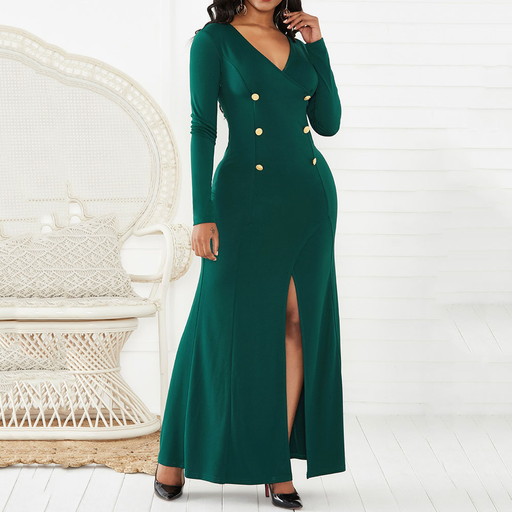 Sexy V Neck Long Sleeve Party Dresses Women 2019 High Slit African Ladies Elegant Office Wedding Party Long Evening Dress