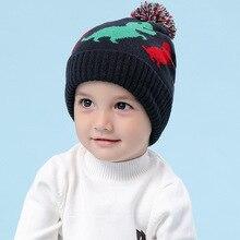 Зимняя вязаная шапка для мальчиков; детская теплая акриловая шапка с помпоном в виде динозавра; повседневная одежда для катания на лыжах; аксессуары для холодной погоды