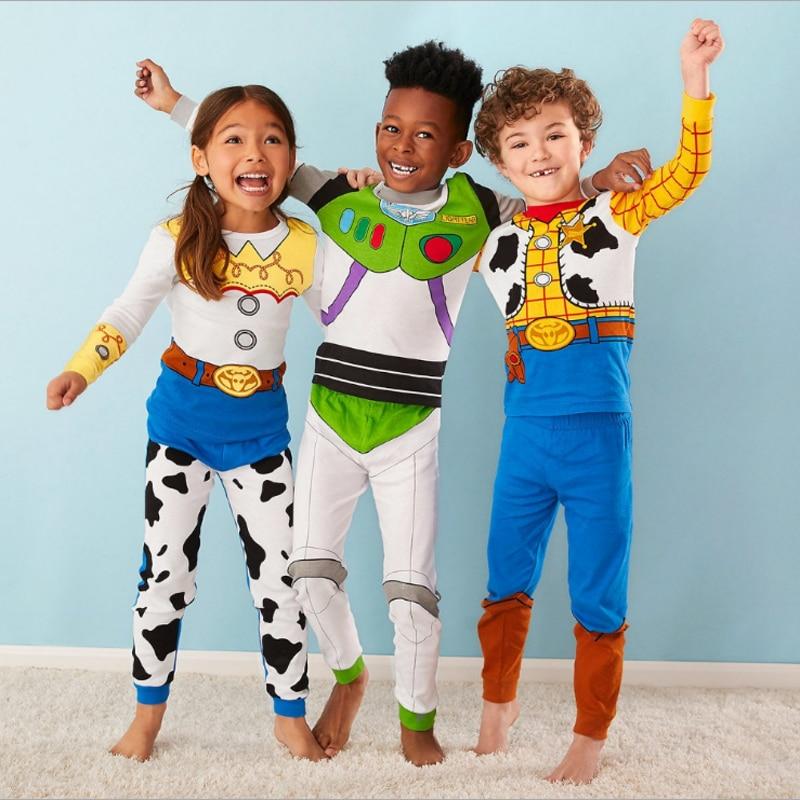 Kids Boy Girl Clothes Pajamas Set 100% Cotton 2019 Fall Winter Xmas Children Sleepwear 2 Pieces Tops +Pants Kid Clothes Pyjamas