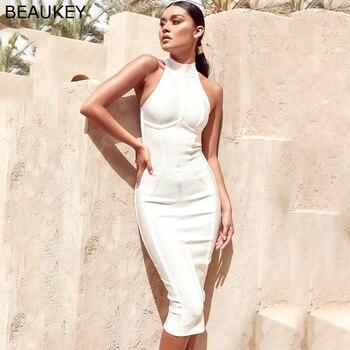 BEAUKEY Women Vintage Bandage Dress Turtleneck Sleeveless Party Celebrity White Bodycon Plus Size XL Wine Red Black Vestido 1