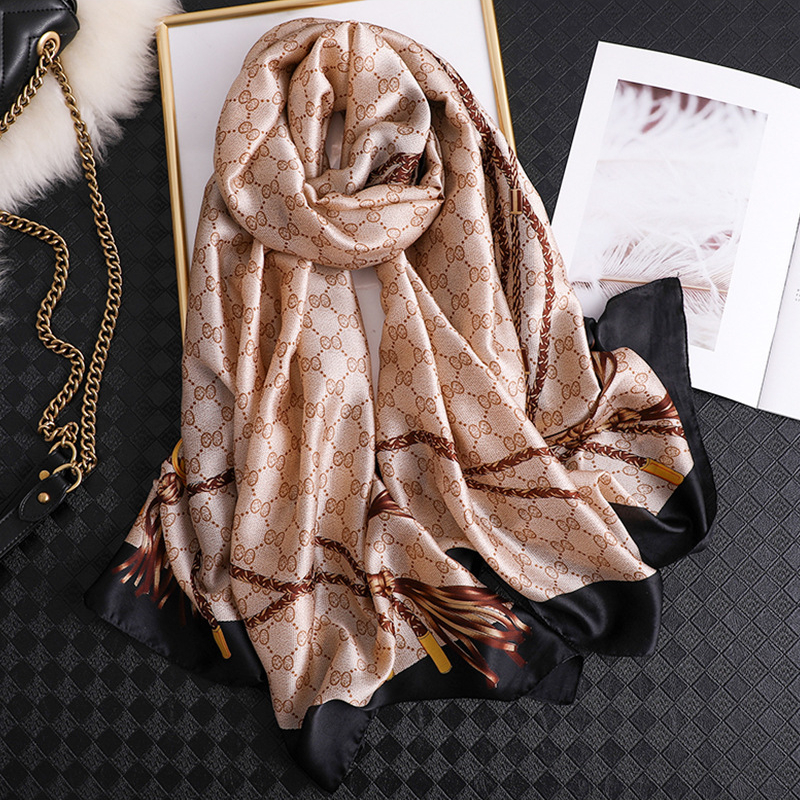 Luxury brand summer silk scarves shawls lady wraps soft