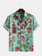 2021 novas camisas havaianas para homens japonês gueixa havaiana engraçado impresso branco rosa camisas dos homens coreano casual camisa de férias
