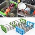 Нержавеющая сталь Регулируемая телескопическая кухня над раковиной сушилка для посуды вставка органайзер для хранения фруктов овощей Лот...