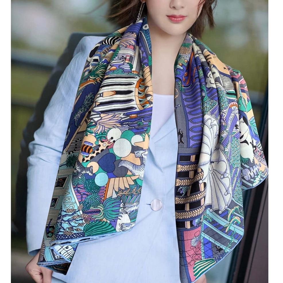 Bufanda de Cachemira de seda cuadrada grande envuelve las bufandas de capa de manto para las mujeres