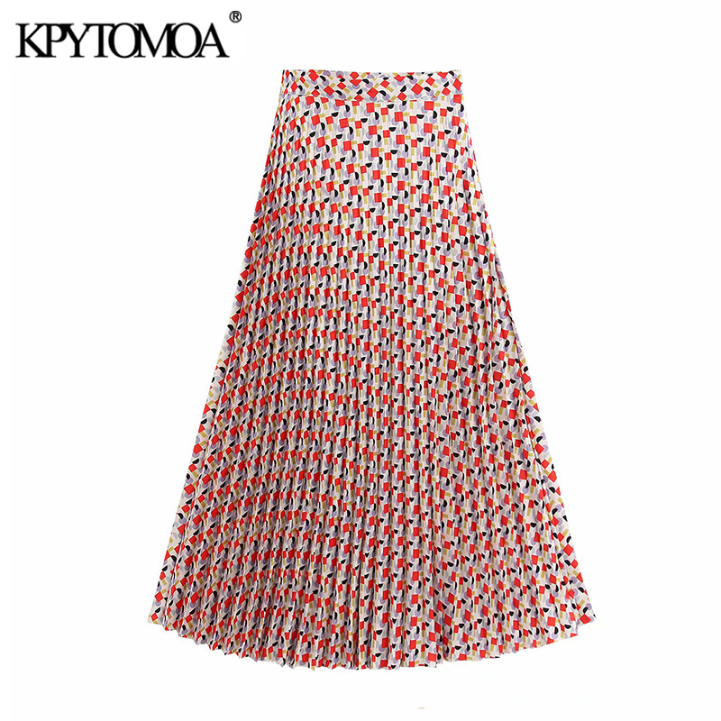 KPYTOMOA Women 2020 Chic Fashion Geometric Print Pleated Midi Skirt Vintage High Waist Side Zipper Office Wear Female Skirts