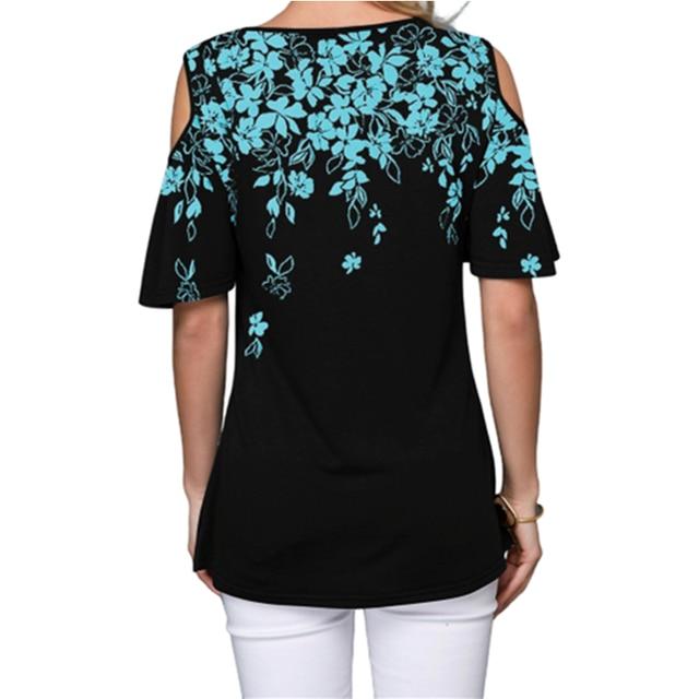 Novedad de 2020, Camiseta holgada de verano para mujer, pantalón corto informal de manga corta, camisetas Sexy sin hombros con estampado de cuello redondo, camiseta Vintage de talla grande S-5XL 5