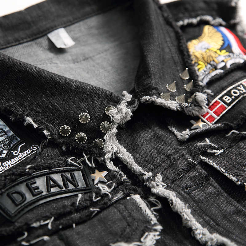 2020 Mannen Motorfiets Sets Gewassen Zwart Geborduurd Schedel Tweedelige Set Cowboy Vest + Verzwakte Tijger Badge Stretch Gat jeans