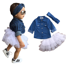 Baby Girl Summer Clothing Sets Girls Clothes Denim Shirt Top +Tutu Skirts+Headband 3pcs Outfits 0-5T