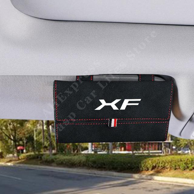 Pokrowiec na okulary przeciwsłoneczne do jaguara Xf Eye Organizer do okularów Box akcesoria do wnętrza samochodu tanie i dobre opinie CN (pochodzenie) 16 5cm półki 0 2kg protect your sun glass X5-146 pu Leather Sunglasses Storage Box White Red