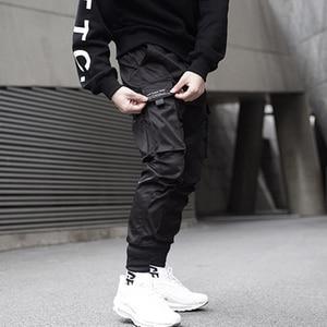 Image 4 - Aelfric Eden Ribbons 힙합 카고 바지 남성용 블랙 포켓 Streetwear 하라주쿠 Techwear 바지 바지 Harem Joggers Sweatpants