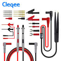 Cleqee P1503E Multimeter Probes Test Leads Kit with Tweezers To Banana Plug Cable Replaceable Needles Digital Multimeter Feeler