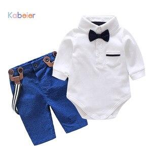 Image 1 - Conjunto de roupas de outono para meninos, roupas masculinas de bebê recém nascido com alças, body para meninos e bebês, roupas infantis para festa de meninos