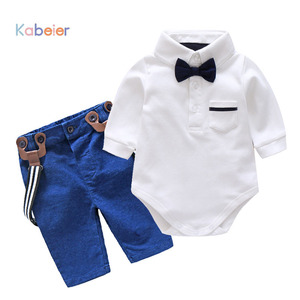 Image 1 - ילד תינוק בגדים להגדיר סתיו יילוד Glentmen בגד גוף עם רצועות מכנסיים פעוט בני בגדי תינוקות בני מסיבת בגדי חליפה