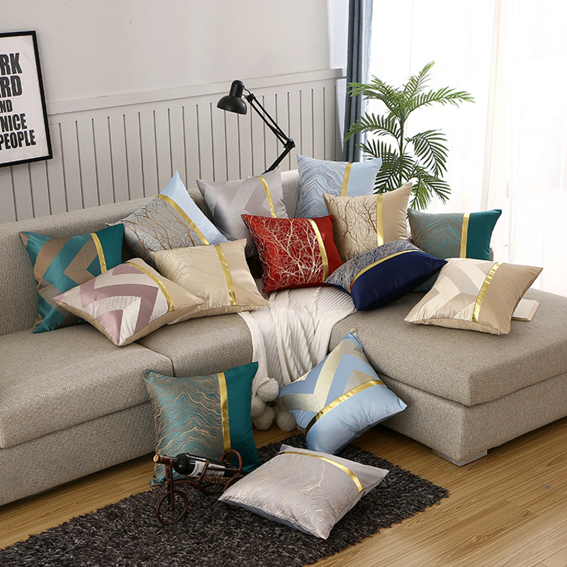 Luxury Jacquard Sofa Cushion Cover Euro Geometric Throw Pillow Cover 45x45cm Home Hotel Decorative Pillow Case