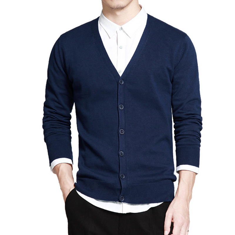 New Cotton Sweater Men Long Sleeve Cardigan Mens V-Neck Sweaters Loose Solid Button Fit Knitting Casual Style Clothing  J765