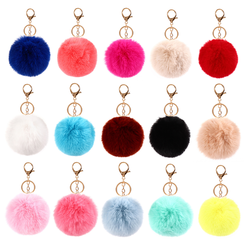 Keychain For Bags Black Pompom Faux Rabbit Fur Ball Keychains Crystal Letters Key Rings Key Holder Trendy Jewelry Bag Charm Gift
