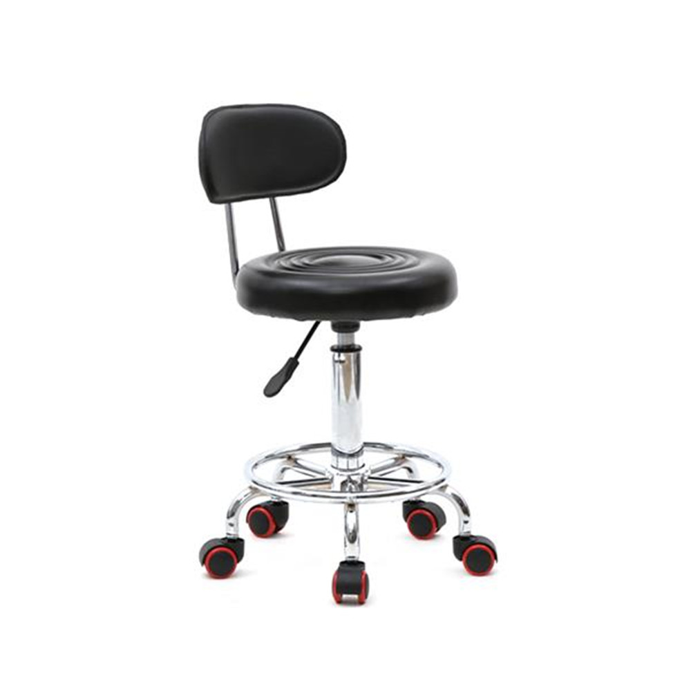 Round Shape Adjustable Salon Stool With Back And Line Black Salon Chair For Bar Or Home  Anti-skidding And Anti-rust Design