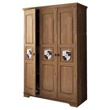 Storage-Cabinet Wardrobe Wood Locker Bedroom Saving-Space Multifunctional Three-Doors
