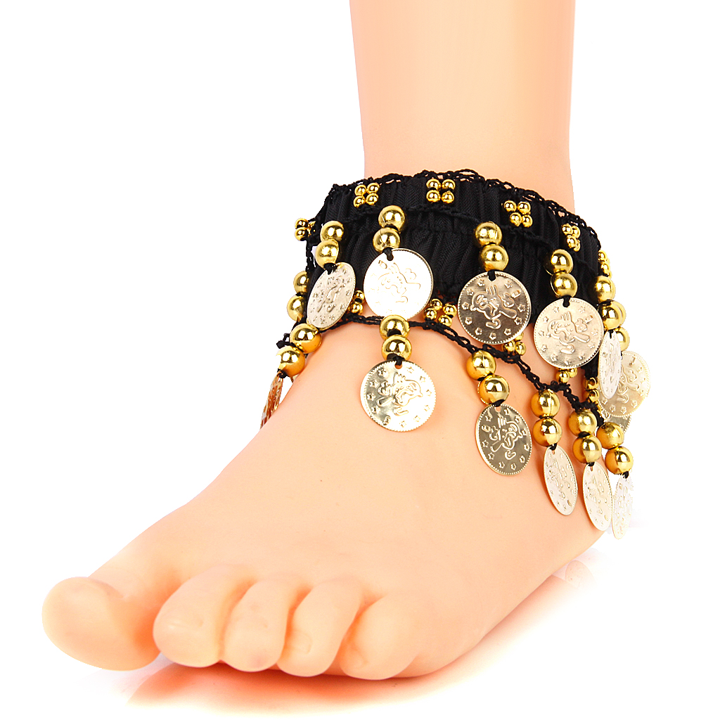 COINS ANKLET BRACELET INDIA BOLLYWOOD BELLY DANCE TRIBAL CHUNKY ARM CUFF Women Barefoot Sandals Jewelry Luxury Coin Leg Ankle