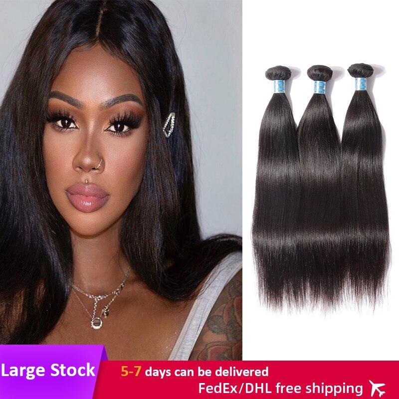 3Pcs Peruvian Straight Hair Bundle 8-30 Inches  Virgin Remy Hair Bundles Natural Color Human Hair Extensions