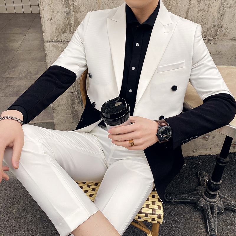 Black And White Men Suit Fashion 2020 Formal Wear Korean Slim Fit Business Suit Men Streetwear Double Breasted Prom Tuxedo 3XL